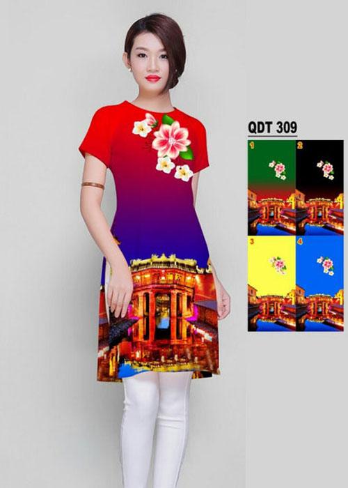 Vải áo dài cách tân in 3D in 3D mã số QDT-309