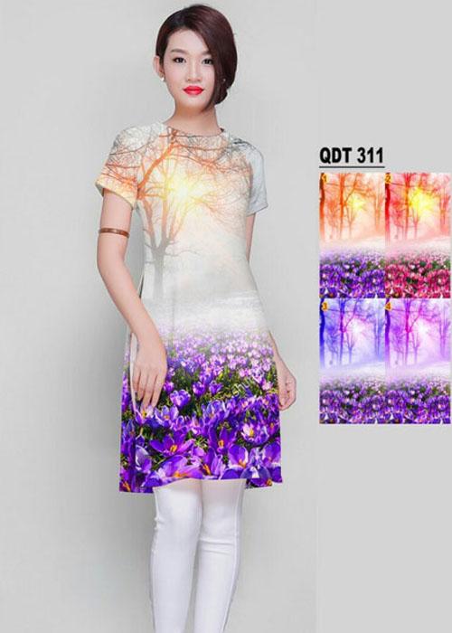 Vải áo dài cách tân in 3D in 3D mã số QDT-311