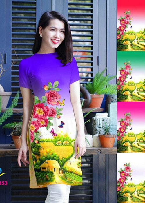 Vải áo dài cách tân in 3D in 3D mã số QDT-353