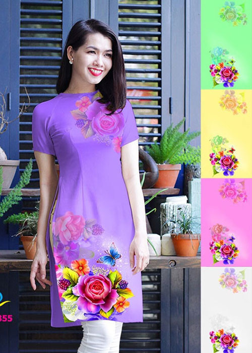 Vải áo dài cách tân in 3D in 3D mã số QDT-355