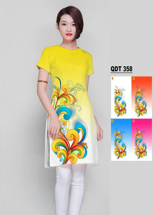 Vải áo dài cách tân in 3D in 3D mã số QDT-358