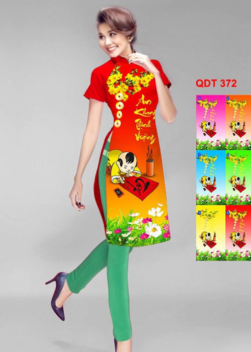Vải áo dài cách tân in 3D in 3D mã số QDT-372