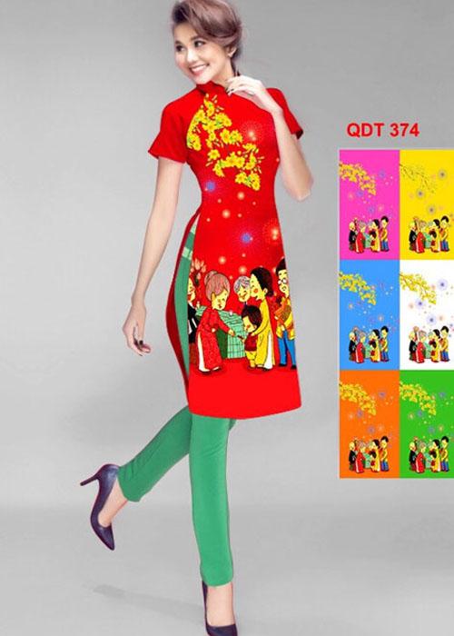 Vải áo dài cách tân in 3D in 3D mã số QDT-374