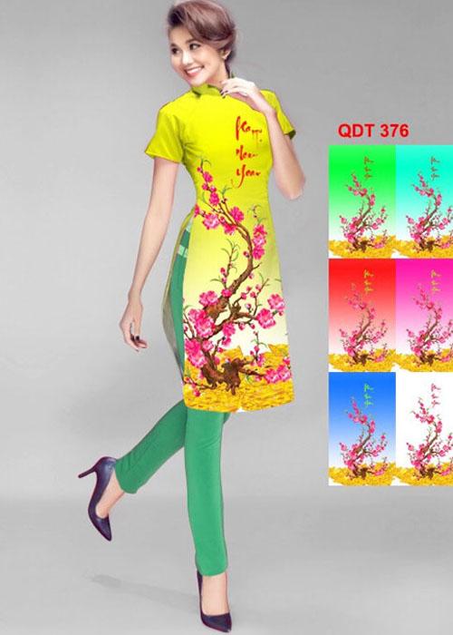 Vải áo dài cách tân in 3D in 3D mã số QDT-376
