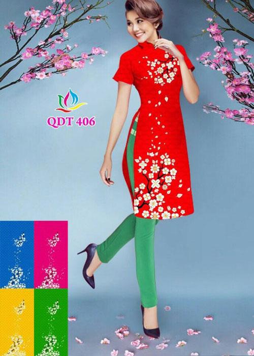 Vải áo dài cách tân in 3D in 3D mã số QDT-406
