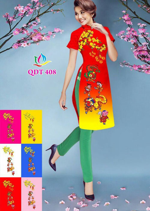 Vải áo dài cách tân in 3D in 3D mã số QDT-408