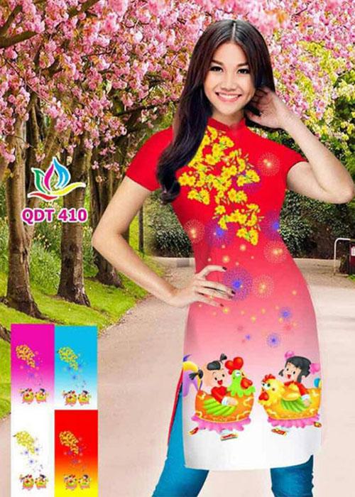 Vải áo dài cách tân in 3D in 3D mã số QDT-410