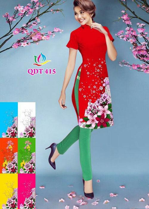 Vải áo dài cách tân in 3D in 3D mã số QDT-415