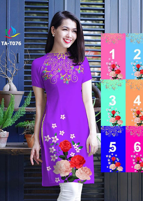 Vải áo dài cách tân in 3D in 3D mã số TA-T076