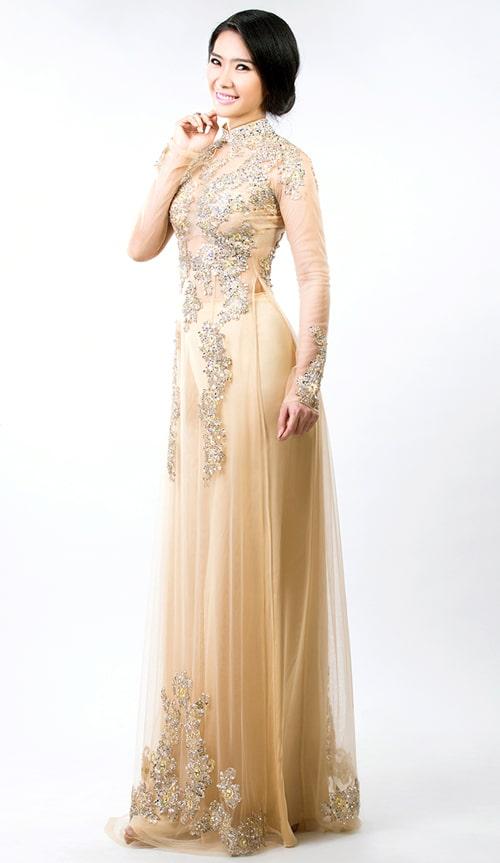 Mẫu áo dài cưới màu nude cho cô dâu 01