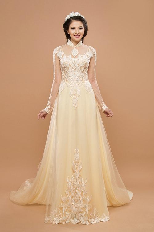 Mẫu áo dài cưới màu nude cho cô dâu 02