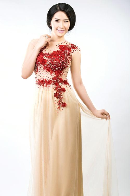 Mẫu áo dài cưới màu nude cho cô dâu 03