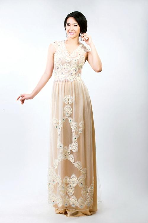 Mẫu áo dài cưới màu nude cho cô dâu 05