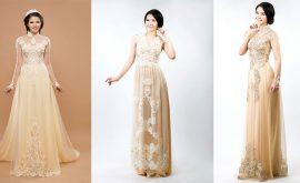 Mẫu áo dài cưới màu nude cho cô dâu