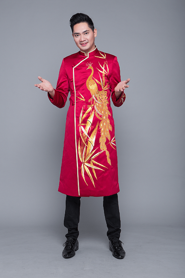 Những mẫu áo dài nam màu đỏ cho chú rể 04