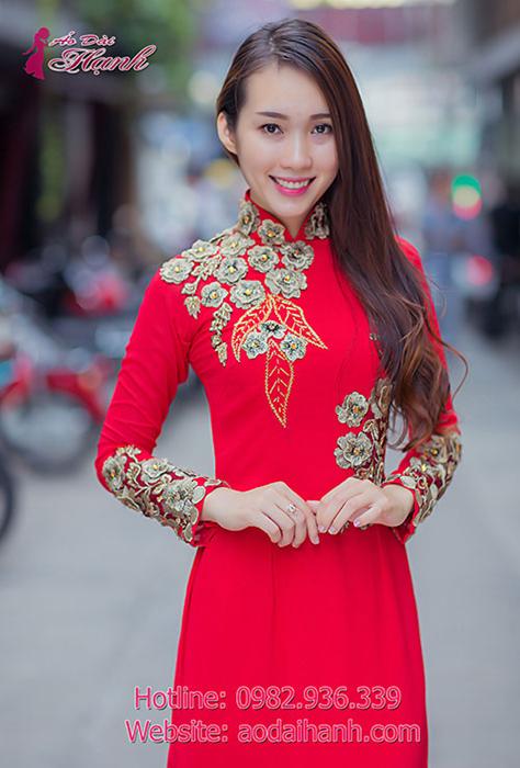 áo dài cưới cổ cao