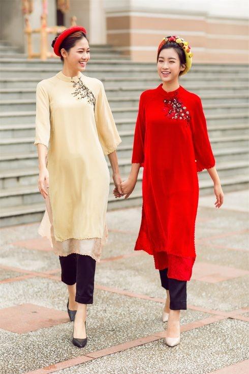 Quần tây cũng được kết hợp hoàn hảo với áo dài cách tân tay lở