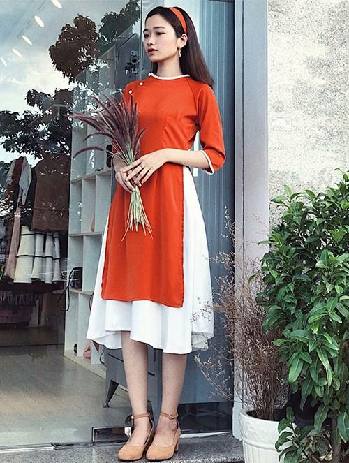 Áo dài cách tân kết hợp với chân váy
