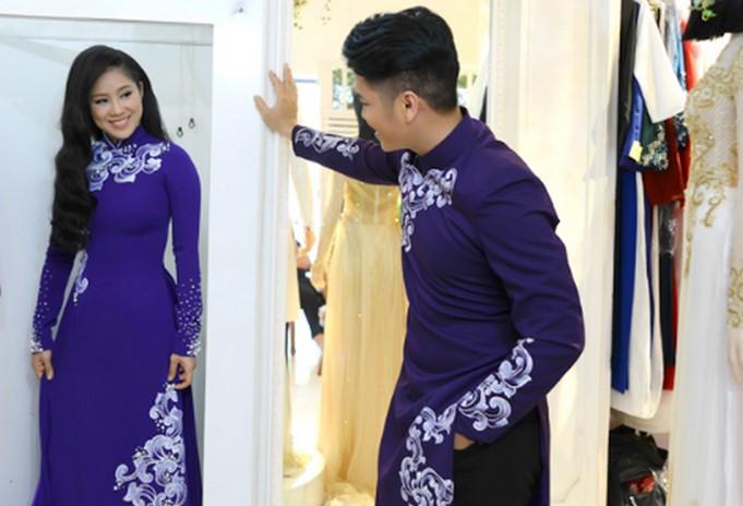 Áo dài cưới màu tím là sự lựa chọn của rất nhiều cặp đôi