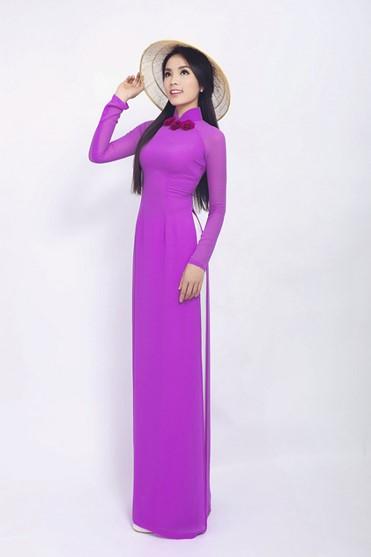 Áo dài màu hồng tím sang trọng