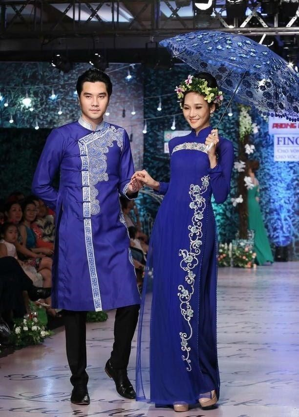 áo màu xanh coban phù hợp cho các bạn nam lựa chọn may áo dài