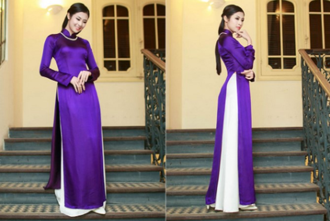 Cô gái Hà Thành dịu dàng trong tà áo dài tím Huế