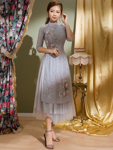 Sang trọng và nổi bật với chân váy midi dáng dài cùng áo dài cách tân