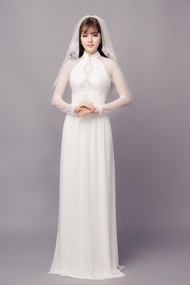 Áo dài cưới màu trắng đầy tinh khiết