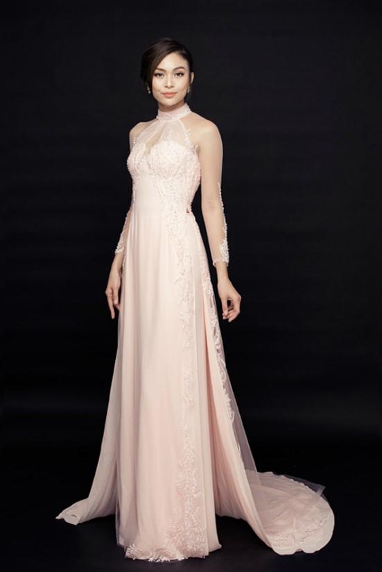 Mẫu áo dài cưới màu hông pastel nữ tính