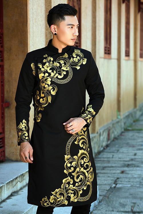 Áo dài nam màu đen cho thuê chụp hình Tết