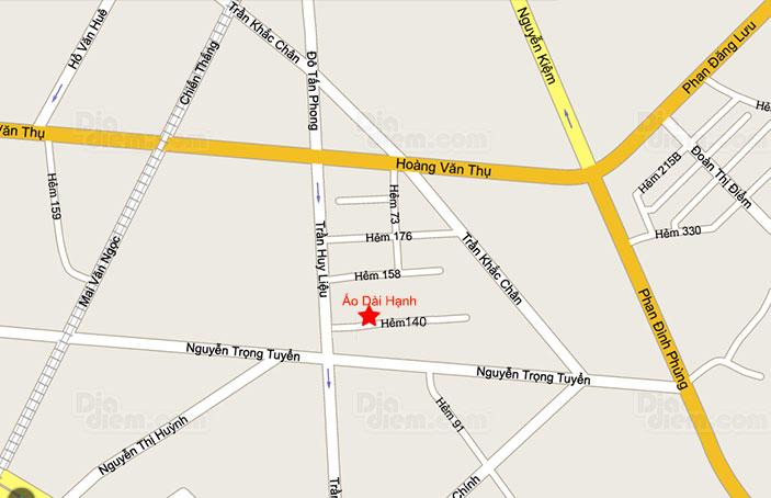 Bản đồ địa chỉ áo dài Hạnh Phú Nhuận